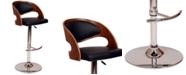 Armen Living Malibu Swivel Barstool In Cream PU/ Walnut Veneer and Chrome Base