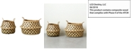 3R Studio Round Dotted Wicker Collapsible Baskets, Set of 2