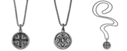 Scott Kay Men's Black Sapphire Medallion Pendant Necklace (5/8 ct. t.w.) in Sterling Silver
