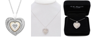 Macy's Diamond Accent Two-Tone Heart Pendant Necklace in Sterling Silver and 10k Gold