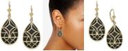 Macy's Onyx Teardrop Filigree Drop Earrings in 14k Gold