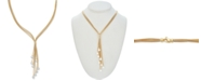 """Macy's Cultured Freshwater Pearl (6-1/2 mm) Multi-Strand 18"""" Lariat Necklace in 14k Gold-Plated Sterling Silver"""