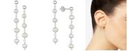 Macy's Cultured Freshwater Pearl (5-5-1/2mm) Chain Drop Earrings in Sterling Silver