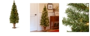 """National Tree Company 5' Montclair Spruce Entrance Tree in 12"""" Black/Gold Plastic Pot with 100 Clear Lights"""