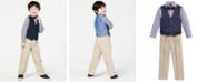 Nautica Little Boys' 3-Pc. Bowtie, Check Shirt, Navy Vest and Khaki Pant Suit Set