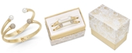 Charter Club 2-Pc. Set Pavé Bead & Imitation Pearl Cuff Bracelets, Created for Macy's
