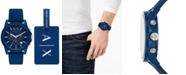 A|X Armani Exchange Men's Chronograph Outer Banks Blue Silicone Strap Watch 44mm Gift Set