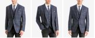 Lauren Ralph Lauren Men's Classic/Regular Fit Stretch Blue/Brown Plaid Wool Matching Jacket and Vest