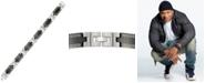 LEGACY for MEN by Simone I. Smith Greek Key Pattern Link Bracelet in Stainless Steel & Black Ion-Plate