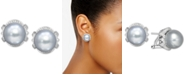 Macy's Cultured White South Sea Pearl (11mm) & Diamond (1/3 ct. t.w.) Stud Earrings in 14k White Gold