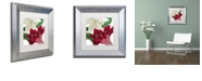 "Trademark Global Color Bakery 'Christmas Amaryllis Ii' Matted Framed Art, 11"" x 11"""