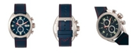 Morphic M64 Series, Silver Case, Chronograph Blue Leather Band Watch w/ Date, 48mm