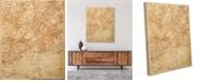"Creative Gallery Vintage New York Map Sepia 16"" X 20"" Canvas Wall Art Print"