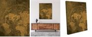"Creative Gallery Vintage Golden World Map 20"" X 24"" Canvas Wall Art Print"