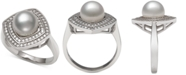 Macy's Cultured Freshwater Pearl (8mm) & Cubic Zirconia Statement Ring in Sterling Silver