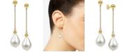 Macy's Cultured Baroque Freshwater Pearl (11-13mm) Drop Earrings in 14k Gold