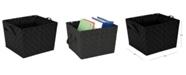 Simplify Large Woven Storage Bin in Black