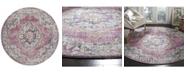 Safavieh Bristol Fuchsia and Light Gray 7' x 7' Round Area Rug
