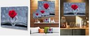 "Design Art Designart Red Rose Inside The Book Large Floral Art Canvas Print - 32"" X 16"""