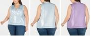 INC International Concepts I.N.C. Plus Size Sleeveless Surplice Shine Top, Created for Macy's