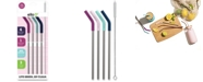 Ello Silicone-Tipped Reusable Stainless Steel Straw 4-pk. plus Wire Brush