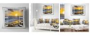 """Design Art Designart 'Open Window To Bright Yellow Sunset' Modern Seascape Throw Pillow - 16"""" x 16"""""""