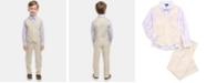 Nautica Little Boys 4-Pc. Plaid Oxford Set, Linen Vest, Pants & Bowtie Set
