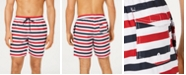 "Club Room Men's Quick-Dry Horizontal Stripe 7"" Twill Swim Trunks, Created for Macy's"