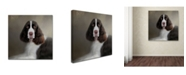 "Trademark Global Jai Johnson 'Waiting Patiently English Springer Spaniel' Canvas Art - 35"" x 35"" x 2"""