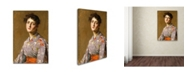 "Trademark Global William Merritt Chase 'Girl In A Japanese Costume' Canvas Art - 19"" x 12"" x 2"""