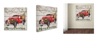 "Trademark Global Jean Plout 'Vintage Christmas Truck 3' Canvas Art - 14"" x 14"" x 2"""