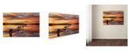 "Trademark Global Mike Jones Photo 'Great Salt Lake Pilings Sunset' Canvas Art - 24"" x 16"" x 2"""