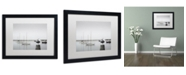 "Trademark Global Moises Levy 'Four Boats & Seagull' Matted Framed Art - 16"" x 20"" x 0.5"""