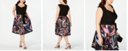 R & M Richards Plus Size Printed Fit & Flare Dress