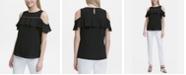 Calvin Klein Cold-Shoulder Beaded-Trim Top
