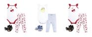Hudson Baby Cotton Bodysuit, Pants and Shoe Set, 0-18 Months