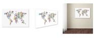 """Trademark Global Michael Tompsett 'Robot Map of the World' Canvas Art - 12"""" x 19"""""""