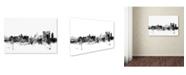 "Trademark Global Michael Tompsett 'Calcutta India Skyline B&W' Canvas Art - 12"" x 19"""