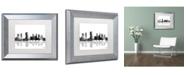 """Trademark Global Marlene Watson 'Columbus Ohio Skyline BG-1' Matted Framed Art - 11"""" x 14"""""""