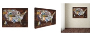 """Trademark Global Masters Fine Art 'USA License Plate Map on Wood' Canvas Art - 14"""" x 19"""""""