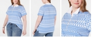 Tommy Hilfiger Plus Size Cotton Diamond-Print Polo Top, Created for Macy's