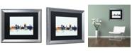 "Trademark Global Michael Tompsett 'Cardiff Wales Skyline Blue' Matted Framed Art - 16"" x 20"""