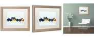 """Trademark Global Michael Tompsett 'York England Skyline Blue' Matted Framed Art - 16"""" x 20"""""""