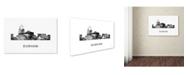 """Trademark Global Marlene Watson 'Durham North Carolina Skyline WB-BW' Canvas Art - 16"""" x 24"""""""