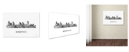 "Trademark Global Marlene Watson 'Memphis Tennessee Skyline WB-BW' Canvas Art - 22"" x 32"""