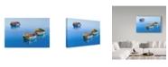 "Trademark Global Edward Park 'Three Blue Boats' Canvas Art - 22"" x 32"""