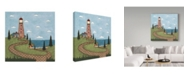 "Trademark Global Robin Betterley 'Red And White Lighthouse' Canvas Art - 24"" x 24"""