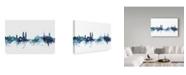 "Trademark Global Michael Tompsett 'Zurich Switzerland Blue Teal Skyline' Canvas Art - 32"" x 22"""