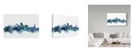 "Trademark Global Michael Tompsett 'New Orleans Louisiana Blue Teal Skyline' Canvas Art - 32"" x 22"""