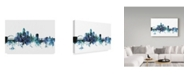 "Trademark Global Michael Tompsett 'Des Moines Iowa Blue Teal Skyline' Canvas Art - 24"" x 16"""